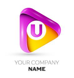 realistic letter u symbol in colorful triangle vector image