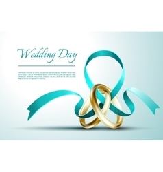Wedding rings with ribbon invitation card vector image