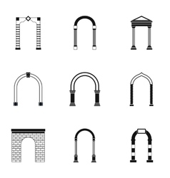 Arch icons set simple style vector