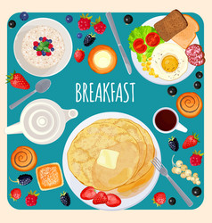 breakfast food and drink top view isolated vector image