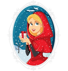 Christmas Princess With Gift Box in Winter Outside vector image vector image