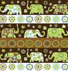 Ethnic background with floral patterned elephants vector image vector image