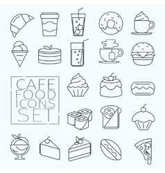 food icons line vector image