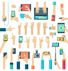 Hands set with gadgets vector image vector image