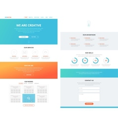 One page flat website design template concept vector image vector image