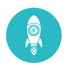 circle light blue with space rocket vector image vector image
