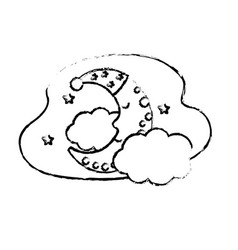 figure cute moon with sleep hat design and clouds vector image