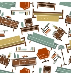 Home furniture retro seamless pattern vector image