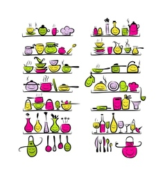 Kitchen utensils characters on shelves sketch vector image