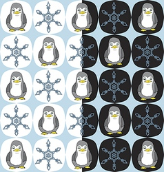 seamless penguin snowflake pattern vector image vector image