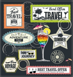 Travel Post stamp set vector image vector image