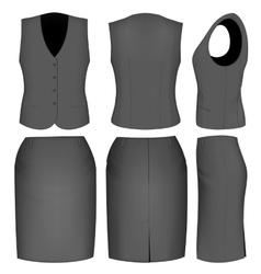 Formal black skirt suit for women vector image
