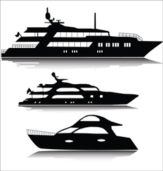 Large yachts silhouettes vector image