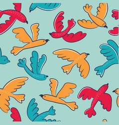 seamless pattern with cute cartoon birds flying vector image