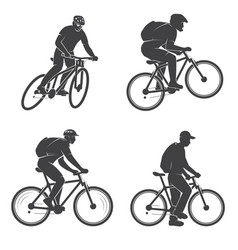 set of mens on the mountain bikings vector image
