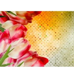 Vintage text frame with tulips old paper EPS 10 vector image vector image