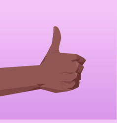 African american human hand showing thumbs up vector