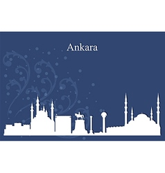 Ankara city skyline on blue background vector