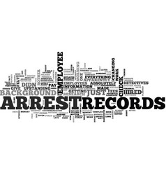 Arrest records text word cloud concept vector