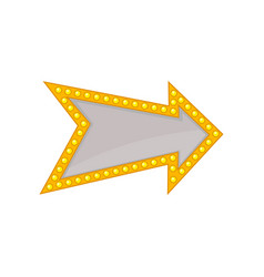arrow with small yellow bulb lamps and place for vector image