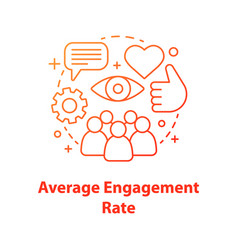 Average audience engagement rate concept icon vector