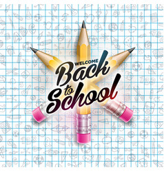 Back to school design with colorful pencil and vector