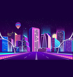 Background with night city in neon lights vector