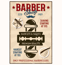 barber shop vintage poster with pole and blade vector image