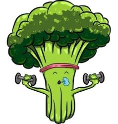 beautiful bright cartoon broccoli engaged in vector image vector image