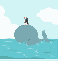 big whale fish with penguin in sea vector image