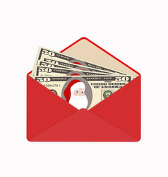 Bill one hundred dollars with santa claus in open vector