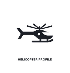 Black helicopter profile isolated icon simple vector