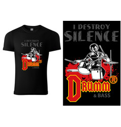 black t-shirt with drummer and inscriptions vector image