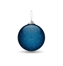 blue christmas bauble with a silver chain design vector image