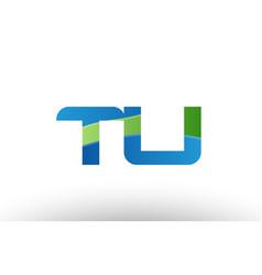 blue green tu t u alphabet letter logo vector image