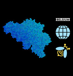 Blue hexagon belgium map vector