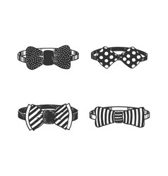 bow tie set sketch engraving vector image
