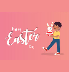 boy holding bunny easter egg vector image