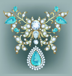 Brooch with diamonds vector