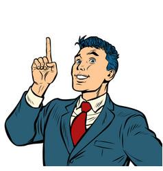 Businessman smile index finger up gesture isolate vector