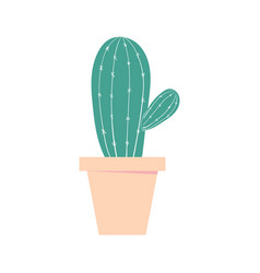 cactus pot home cute plant isolated color vector image