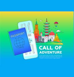 Call adventure - line travel vector