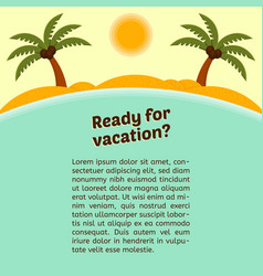 card about vacation with a tropical island vector image