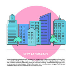 card template with city street in thin line vector image