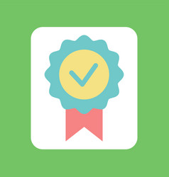check mark with ribbon on green circle tick vector image