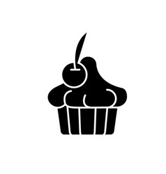 cherry dessert black icon sign on isolated vector image