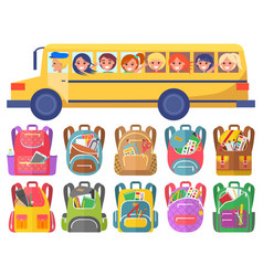 Children ride on school bus bags with stationery vector