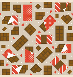 Chocolate bar and heart seamless pattern vector