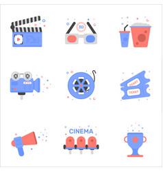 Cinema of tickets icon in flat vector