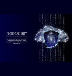 cloud security polygonal art style vector image